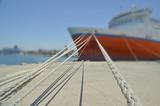 ship ropes in patras port - bur poster
