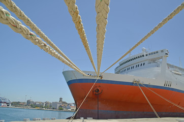 ship ropes - patra city - greece