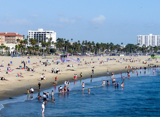 SANTA MONICA, CALIFORNIA - MAY 21, 2011: People enjoy the beach
