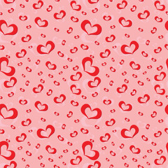 Seamless pattern of symbolic hearts