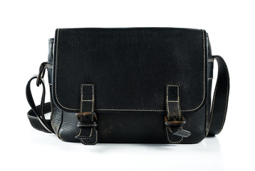 black man bag on white isolated