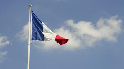 Französische Fahne im Wind