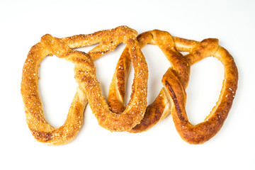 Pretzel on white isolated