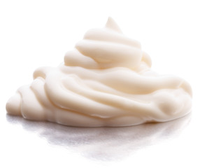 Mayonnaise swirl  isolated on white background cutout