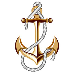 gold anchor with rope