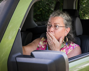 Frightened Senior Woman Driver
