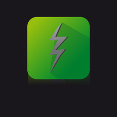 Green Flat Icon of Electricity With Long Shadow