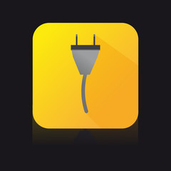 Yellow Flat Icon of Electric Cable