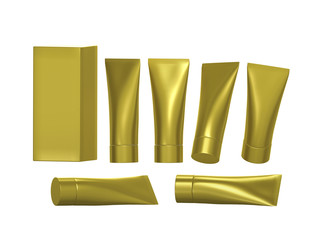 Golden beauty hygiene tube with clipping path