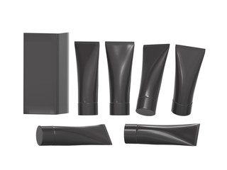 Black plastic beauty hygiene tube with clipping path