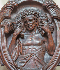 Bruge - carved relief of Good shepherd in carmelites church