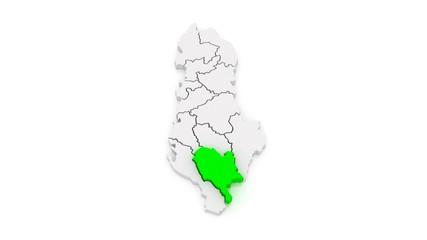 Map of regions Albania. 3d