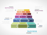 Fototapety Success concept infographic template with stairs