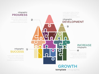 Growth infographic template with arrows