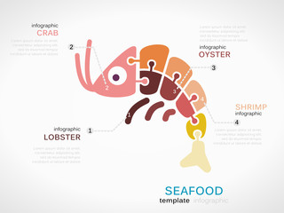 Sea food infographic template with lobster