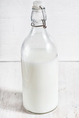 Fresh milk in old fashioned bottle