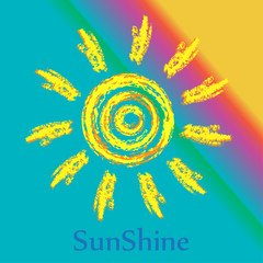 Ink sun on bright background, creative concept