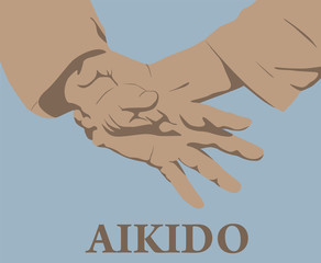 Illustration, capture of hands in Aikido