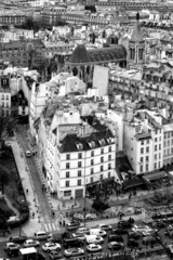Aerial View of Paris. Black and White