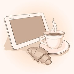 morning with coffee and tablet