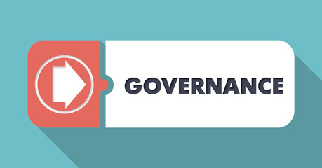 Governance Concept in Flat Design on Blue Backgrounds.