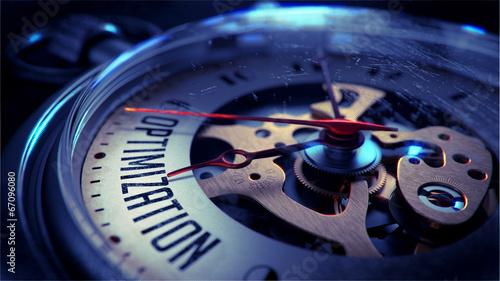 Leinwandbild Motiv Optimization on Pocket Watch Face. Time Concept.