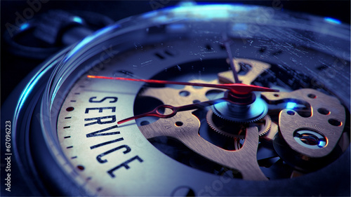 Leinwanddruck Bild Service on Pocket Watch Face. Time Concept.