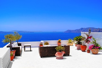 Luxurious terrace overlooking the sea on Santorini, Greece