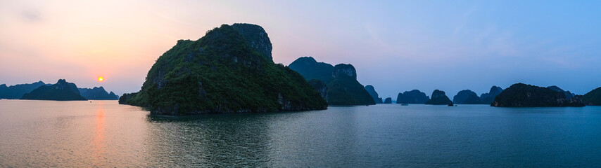 Sunset in Halong Bay, panorama