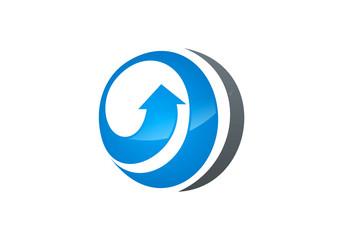 circle globe arrow logo