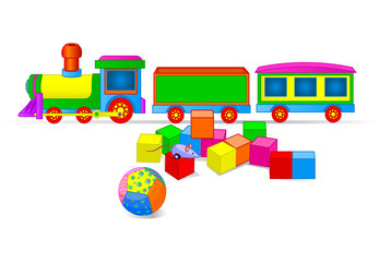Toy Train and Blocks