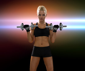 sporty woman with heavy steel dumbbells