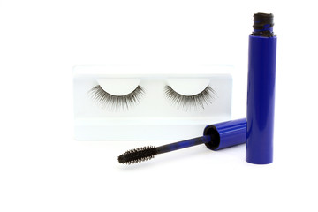 False eyelashes and mascara