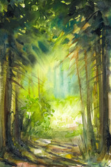 Pathway in summer forest.Picture created with watercolors.