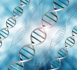 3D DNA strands background