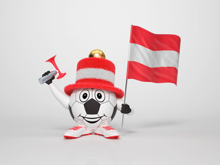 Soccer character fan supporting Austria