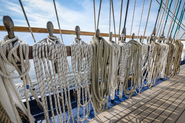 Ropes tied on a ship deck