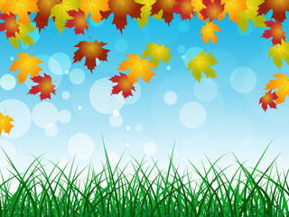 Autumn Landscape Shows Text Space And Blank