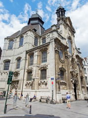 Brussels - Baroque church Notre Dame du Bon Secource.