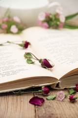 Dry roses and old book.