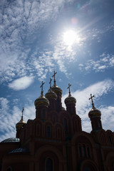 Orthodox church, detail, against the sun.