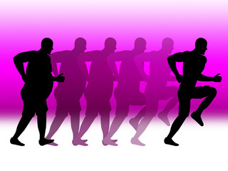 Weight Loss Shows Work-Out Run And Healthy