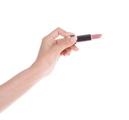 hand with lipstick isolated on white