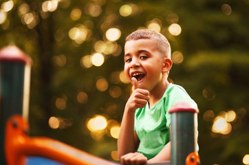 Afro American boy on playground