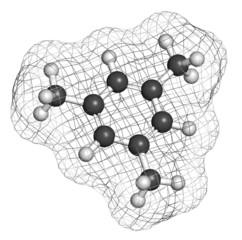 Mesitylene aromatic hydrocarbon molecule. Important solvent.