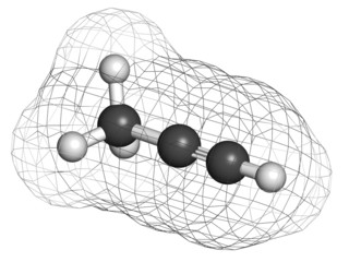 Methylacetylene (propyne) molecule. Used in welding gas.