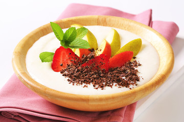 Milk pudding with fruit