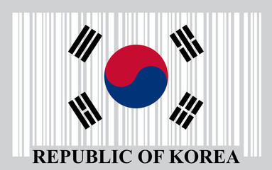 Korean barcode flag, vector