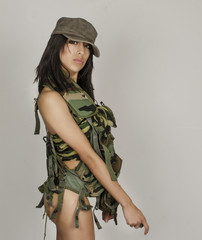 Sexy beautiful army military woman