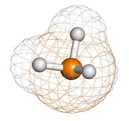 Phosphine (phosphane, PH3) molecule.